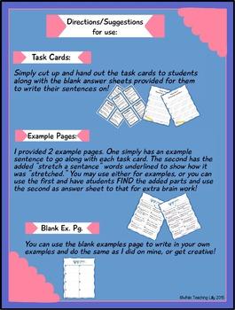 Word Work Task Cards! (stretching sentences)