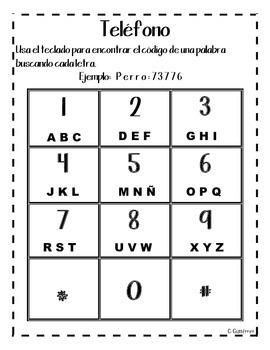 Word Work: Telephone (spanish)
