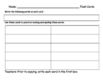 Word Work Templates for 10 Words