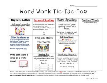 Word Work Tic Tac Toe