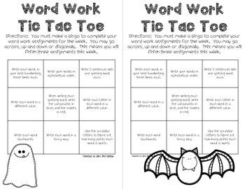 Word Work Tic-Tac-Toe