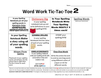 Word Work Tic Tac Toe 2