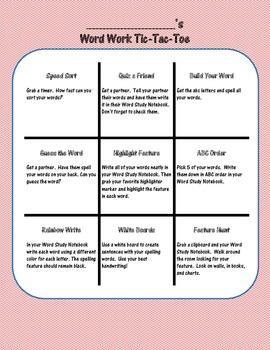 Word Work Tic-Tac-Toe Board
