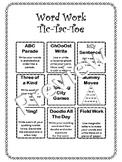 Word Work Tic-Tac-Toe Menu