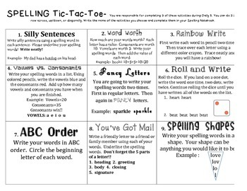 Word Work Tic-Tac-Toe for Daily 5