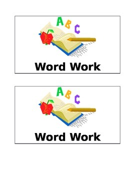 Word Work Title Page