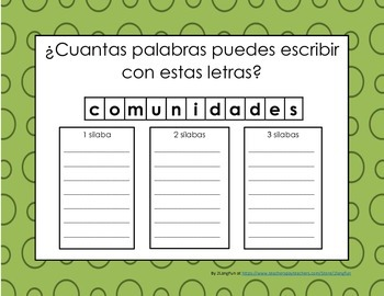 Word Work / Trabajo con palabras