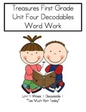 "Word Work- Treasures First Grade Unit 4 Week 1 Decodable 1 ""Too Much Rain Today"""