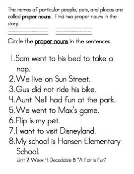 "Word Work- Treasures First Grade Unit 2 Week 4 Decodable 8 ""A Fair is Fun"""