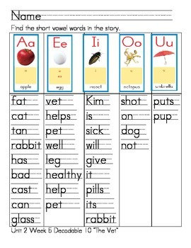 "Word Work- Treasures First Grade Unit 2 Week 5 Decodable 10 ""The Vet"""