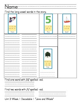 """Word Work- Treasures First Grade Unit 3 Week 1 Decodable 1- """"Jane and Wade"""""""