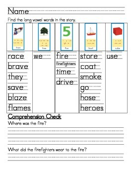 "Word Work- Treasures First Grade Unit 3 Week 2 Decodable 4 ""Race To A Fire"""