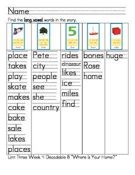 """Word Work- Treasures First Grade Unit 3 Week 4 Decodable 8 """"Where Is Your Home?"""""""