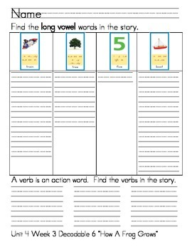 """Word Work- Treasures First Grade Unit 4 Week 3 Decodable 6 """"How a Frog Grows"""""""