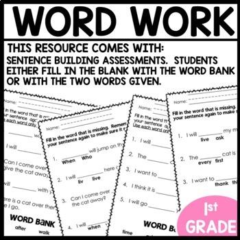 Word Work (Unit 3 Week 3)