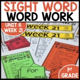 Word Work | UNIT 6 Week 21 | ELA Worksheets | Center Games