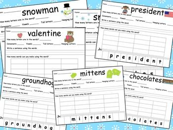 Word Work Unit/Word Fun for Winter, Valentine's Day, and Groundhog's Day themes