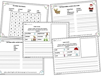 Word Work Unit/Word fun for Winter Holidays Snowmen, Gingerbread and Santa theme