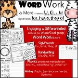 Word Work: ANIMALS Theme: Phonics, Verbs, Nouns, Handwriti