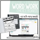 Word Work + Vocabulary Choice Boards | Works with any words! | EDITABLE!