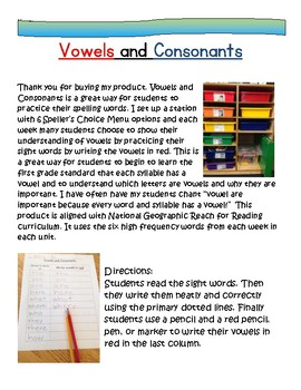 Word Work:Vowels & Consonants National Geographic Reach for Reading 1st Gr Words
