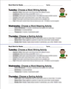 Word Work Week Checklist
