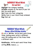 Word Work Week Poster Set - Words Their Way, Word Work, or