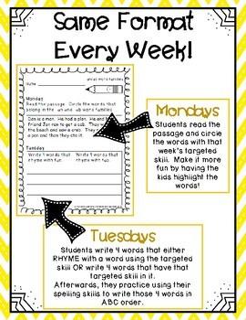 1st Grade Word Work Activities (weekly)