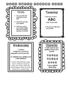 Word Work Weekly Menu