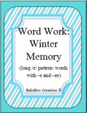 Word Work: Winter Memory Game- Long /e/ (-e and -ee words)