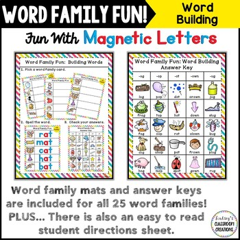 Word Work ~ Word Families ~ Building Words with Magnetic Letters Center!