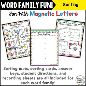 Word Work ~ Word Families Sorting Activity ~ Magnetic Letters Center!