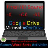 Word Work-Word Sorts Games & Activities—Final /K/ -k, -ck
