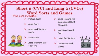 Word Work-Word Sorts Games & Activities—Short ŭ vs. Long ū-Google Drive