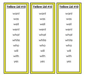Word Work Words - Dolch Words and Fountas and Pinnell