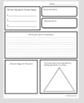 Word Work Worksheet