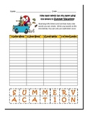 Word Work Worksheet- Summer Vacation Themed