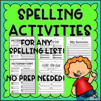 Spelling Activities 2 - Any Spelling List!