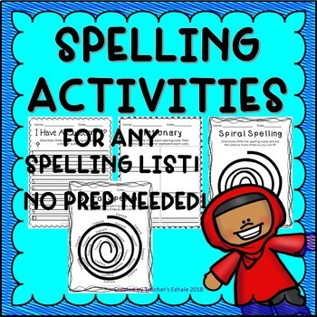 Spelling Activities 3 - Any Spelling List!