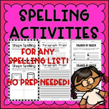 Spelling Activities 4 - Any Spelling List!