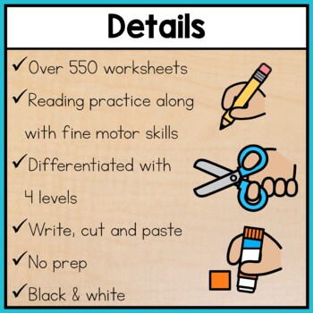 Word Work Worksheets BUNDLE: Cut and Paste Activities for Special Education