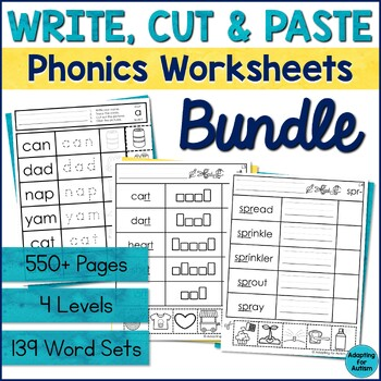 Word Work Worksheets BUNDLE: Cut and Paste Activities for Special ...