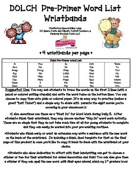 Word Work Wristbands: Complete Dolch Pre-Primer List