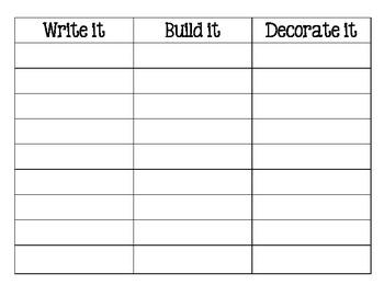 Word Work: Write It-Build It-Decorate It