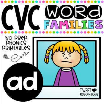CVC Word Family 'AD' No Prep Phonics Printables