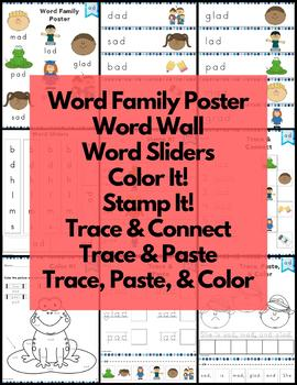 ad Word Family Word Work and Activities - Short A