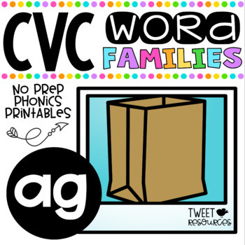 CVC Word Family 'AG' No Prep Phonics Printables