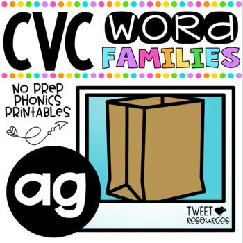 CVC Word Family 'AG' No Prep Phonics Printables