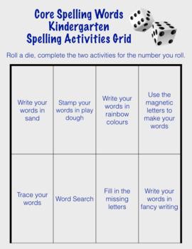 Word Work and Core Spelling Activities- Kindergarten