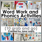 Word Work and Phonics Activities (10 Grab and Go)